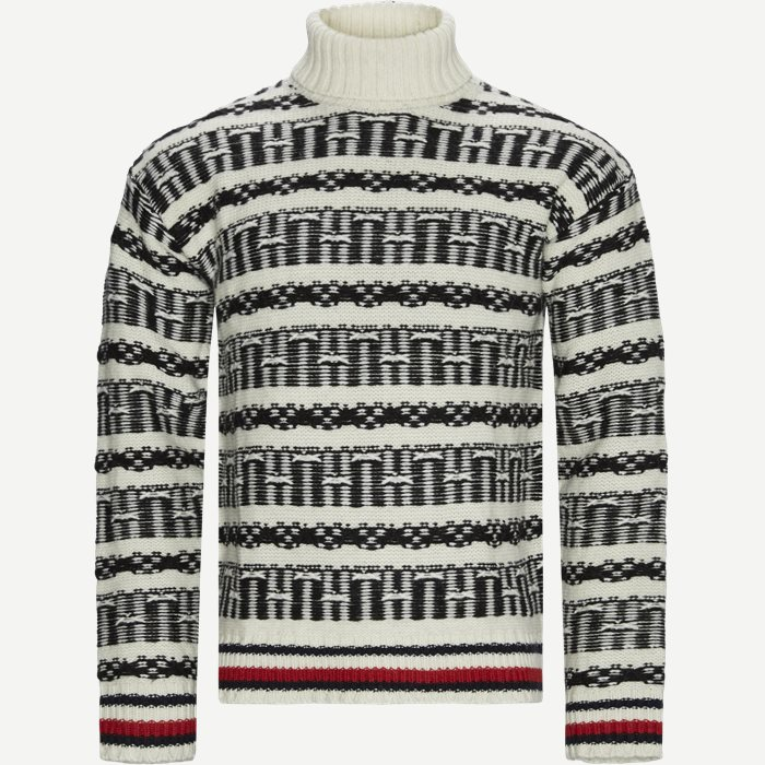 Oversized Fairisle Roll Neck Sweater - Strik - Regular - Hvid